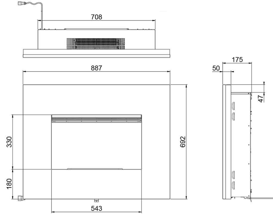 Načrt električni kamin Nuoro